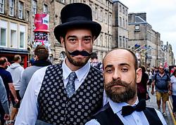 Edinburgh Scotland 7th August 2016 :: Performers from Fringe shows entertain in the High Street to promote their shows.<br /> <br /> Pictured: performers from Shhhhhhh! Improvised Silent Movie<br /> <br /> (c) Andrew Wilson | Edinburgh Elite media