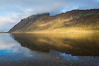 Mountain reflection in Steirapollen lake, Vestvågøya, Lofoten Islands, Norway