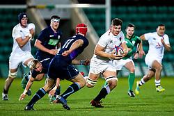 Aaron Hinkley of England U20 takes on Jack Blain of Scotland U20 - Mandatory by-line: Robbie Stephenson/JMP - 15/03/2019 - RUGBY - Franklin's Gardens - Northampton, England - England U20 v Scotland U20 - Six Nations U20