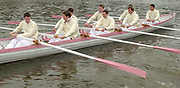 """Putney. London.  2004 University Boat Race,  Championships Course, Putney to Mortlake. <br /> Re enactment row Boat Race. , Cambridge and Oxford . CUBC moving away from the """"Hard"""" to complete [Mandatory Credit Peter SPURRIER]"""