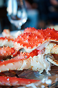 A King Crab cooked and served in a cabin at Jarfjord, near Kirkeness, Finnmark region, northern Norway