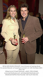 MR & MRS MARK STEWART, he is the son of racing driver Sir Jackie Stewart, at a party in London on 16th October 2001.	OTD 104