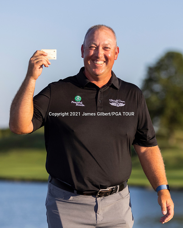 NEWBURGH, IN - SEPTEMBER 05: Scott Gutschewski poses with his PGA Tour card after the Korn Ferry Tour Championship presented by United Leasing and Financing at Victoria National Golf Club on September 5, 2021 in Newburgh, Indiana. (Photo by James Gilbert/PGA TOUR via Getty Images)