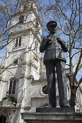 The statue of Royal Air Force Air Chief Marshal Lord Dowding,  outside St Clement Danes (RAF) church, on 17th April 2018, in London, England. Hugh Caswall Tremenheere Dowding, 1st Baron Dowding, GCB, GCVO, CMG (24 April 1882 – 15 February 1970) was an officer in the Royal Air Force. He served as a fighter pilot and then as commanding officer of No. 16 Squadron during the First World War. During the inter-war years he became Air Officer Commanding Fighting Area, Air Defence of Great Britain and then joined the Air Council as Air Member for Supply and Research. He was Air Officer Commanding RAF Fighter Command during the Battle of Britain and is generally credited with playing a crucial role in Britain's defence, and hence, the defeat of Adolf Hitler's plan to invade Britain.
