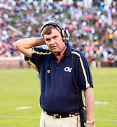 Oct. 15, 2011-Charlottesville, VA.-USA-  Georgia Tech head coach Paul Johnson reacts during an ACC football game against the Virginia Cavaliers at Scott Stadium. Virginia won 24-21. (Credit Image: © Andrew Shurtleff