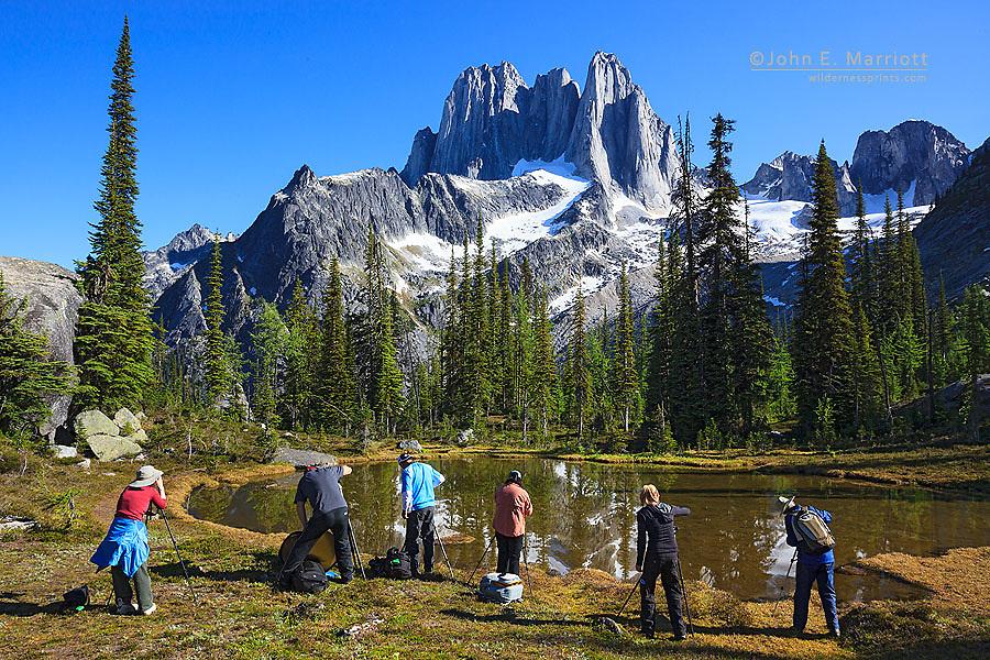Landscape photographers on a workshop in Bugaboo Provincial Park, B.C.