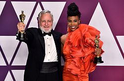 Jay Hart and Hannah Beachler with the award for best production design for Black Panther in the press room at the 91st Academy Awards held at the Dolby Theatre in Hollywood, Los Angeles, USA.