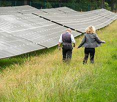 Green co-leaders visit solar farm,  Penicuik, 27 August 2021
