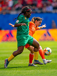 15-06-2019 FRA: Netherlands - Cameroon, Valenciennes<br /> FIFA Women's World Cup France group E match between Netherlands and Cameroon at Stade du Hainaut / Raissa Feudjio #8 of Cameroon, Daniëlle van de Donk #10 of the Netherlands