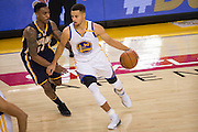 Golden State Warriors guard Stephen Curry (30) attacks the Indiana Pacers defense at Oracle Arena in Oakland, Calif., on December 5, 2016. (Stan Olszewski/Special to S.F. Examiner)