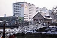 Europe, Germany, Cologne, the Ellmill or Aurora mill at the harbor in the district Deutz, swing bridge, snow.<br /> <br /> Europa, Deutschland, Koeln, die Ellmuehle oder Aurora Muehle im Deutzer Hafen, Drehbruecke, Schnee.