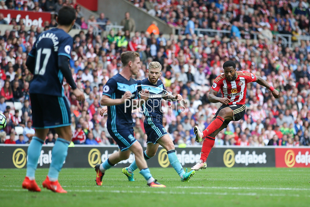 Sunderland forward Jeremain Lens (17) with a shot during the Premier League match between Sunderland and Middlesbrough at the Stadium Of Light, Sunderland, England on 21 August 2016. Photo by Simon Davies.