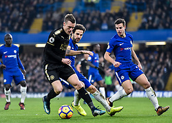 January 13, 2018 - London, England, United Kingdom - Leicester City's Jamie Vardy battles for possession with Chelsea's Cesc Fabregas..during the Premier League match between Chelsea and Leicester City at Stamford Bridge, London, England on 13 Jan t 2018. (Credit Image: © Kieran Galvin/NurPhoto via ZUMA Press)