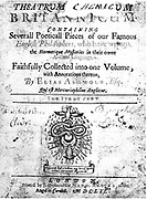 Title page of Elias Ashmole's 'Theatrum Chemicum Britannicum' London 1652. Isaac Newton owned a copy of this book.