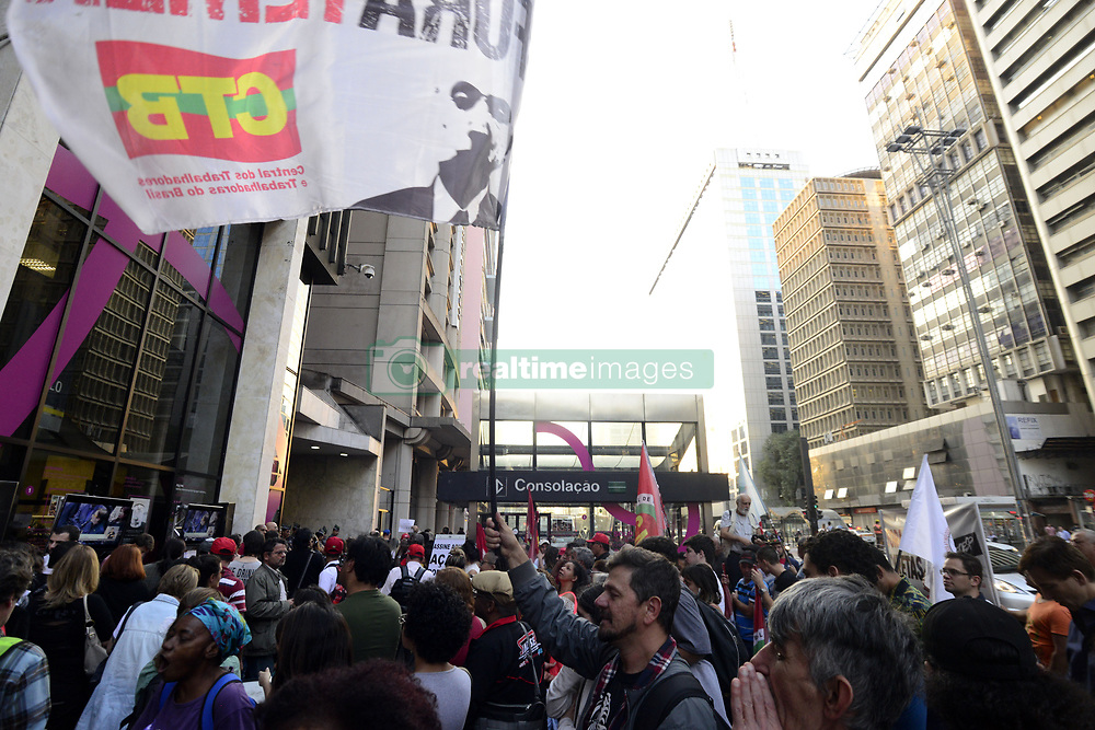 August 2, 2017 - SâO Paulo, São paulo, Brazil - Protesters hold signs outside the office of President Michel Temer as congress votes on whether he should stand a corruption trial in Sao Paulo, Brazil, on Wednesday, Aug. 2, 2017. Polls by local newspapers showed the opposition was falling short of the 342 votes, or two-thirds of the chamber, needed to put Temer on trial. (Credit Image: © Cris Faga via ZUMA Wire)