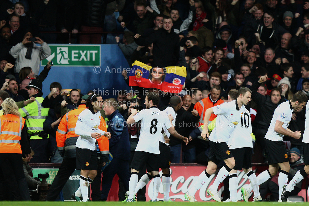 Radamel Falcao of Manchester United (far left) celebrates scoring his side's equalising goal to make it 1-1. Barclays Premier league match, Aston Villa v Manchester Utd at Villa Park in Birmingham on Saturday 20th December 2014<br /> pic by Mark Hawkins, Andrew Orchard sports photography.