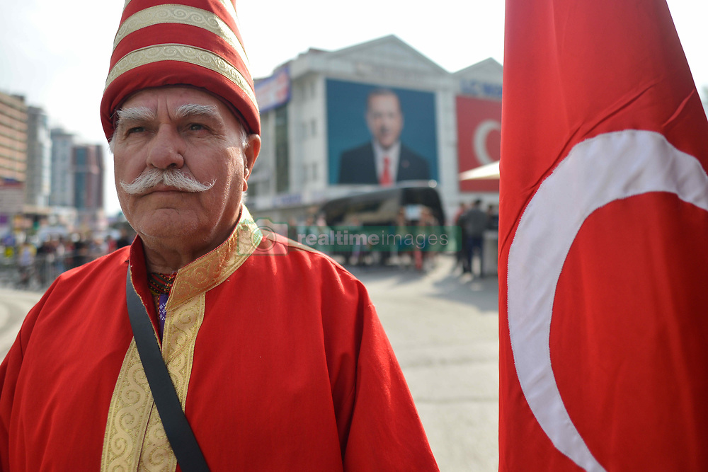 October 14, 2018 - Istanbul, Turkey - A man dressed in Turkish traditional costume seen at the start of the sixth stage - the Salcano Stage 166.7km from Bursa to Istanbul, of the 54th Presidential Cycling Tour of Turkey 2018. .On Sunday, October 14, 2018, in Istanbul, Turkey. (Credit Image: © Artur Widak/NurPhoto via ZUMA Press)