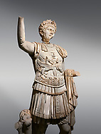 Roman statue of Emperor Trajan . Marble. Perge. 2nd century AD. Inv no . Antalya Archaeology Museum; Turkey. .<br /> <br /> If you prefer to buy from our ALAMY STOCK LIBRARY page at https://www.alamy.com/portfolio/paul-williams-funkystock/greco-roman-sculptures.html . Type -    Antalya     - into LOWER SEARCH WITHIN GALLERY box - Refine search by adding a subject, place, background colour, museum etc.<br /> <br /> Visit our ROMAN WORLD PHOTO COLLECTIONS for more photos to download or buy as wall art prints https://funkystock.photoshelter.com/gallery-collection/The-Romans-Art-Artefacts-Antiquities-Historic-Sites-Pictures-Images/C0000r2uLJJo9_s0
