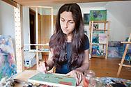 Artist Anja Bunderla at her home near Bled, Slovenia © Rudolf Abraham