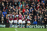 Jordan Ayew of Aston Villa (19) celebrates with his team mates after he scores his teams 1st goal. Barclays Premier league match, Aston Villa v Swansea city at Villa Park in Birmingham, the Midlands on Saturday 24th October 2015.<br /> pic by  Andrew Orchard, Andrew Orchard sports photography.