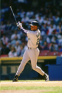 CLEVELAND - 1991:  Ken Griffey Jr. of the Seattle Mariners bats during an MLB game versus the Cleveland Indians at Municipal Stadium in Cleveland, Ohio during the 1991 season. (Photo by Ron Vesely).  Subject:   Ken Griffey Jr.