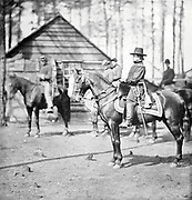 General Rufus Ingalis on Charger [Rufus Ingalls (August 23, 1818 – January 15, 1893) was an American military general who served as the 16th Quartermaster General of the United States Army. With the outbreak of the Civil War in April 1861, Ingalls was reassigned to duty at Fort Pickens in Florida. He became a major and then a lieutenant colonel in the volunteer army. Shortly after the First Battle of Manassas in July, he moved northward to Virginia to serve as aide-de-camp to Maj. Gen. George B. McClellan. He was promoted to the rank of major in January 1862]. from the book ' The Civil war through the camera ' hundreds of vivid photographs actually taken in Civil war times, sixteen reproductions in color of famous war paintings. The new text history by Henry W. Elson. A. complete illustrated history of the Civil war