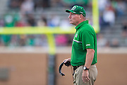 Marshall Thundering Herd head coach Doc Holliday looks on against the North Texas Mean Green during the 1st half at Apogee Stadium in Denton, Texas on October 8, 2016. (Cooper Neill for The Herald-Dispatch)