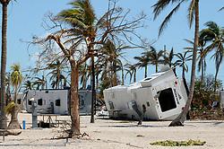 Flipped RVs at Sunshine Key RV Resort and Marina Tuesday in Ohio Key, FL, USA, on Tuesday, September 12, 2017. Photo by Taimy Alvarez/Sun Sentinel/TNS/ABACAPRESS.COM