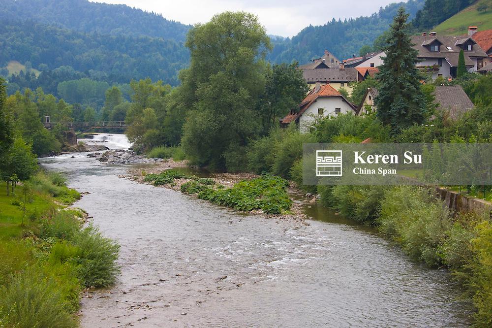 Houses along the Draver River, Skofja Loka, a thousand-year-old medieval city, Slovenia
