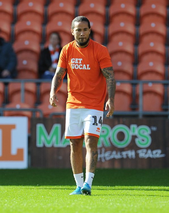 Blackpool's Sean Scannell during the pre-match warm-up <br /> <br /> Photographer Kevin Barnes/CameraSport<br /> <br /> The EFL Sky Bet League One - Blackpool v Rotherham United - Saturday 12th October 2019 - Bloomfield Road - Blackpool<br /> <br /> World Copyright © 2019 CameraSport. All rights reserved. 43 Linden Ave. Countesthorpe. Leicester. England. LE8 5PG - Tel: +44 (0) 116 277 4147 - admin@camerasport.com - www.camerasport.com