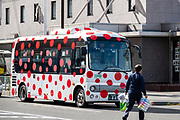 Red polka dot bus in Matsumoto, Nagano Prefecture, Japan.