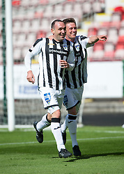 Dunfermline's Michael Moffat (left) cele scoring their third goal. <br /> Half time : Dunfermline 4 v 0 Cowdenbeath, SPFL Ladbrokes League Division One game played 15/8/2015 at East End Park.