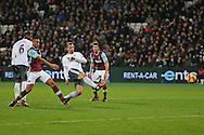 Zlatan Ibrahimovic of Manchester United (c)  shoots to score his sides 2nd goal. Premier league match, West Ham Utd v Manchester Utd at the London Stadium, Queen Elizabeth Olympic Park in London on Monday 2nd January 2017.<br /> pic by John Patrick Fletcher, Andrew Orchard sports photography.