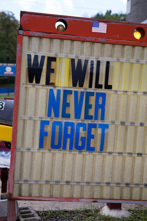 Sign in Shanksville, Pennsylvania near the FLight 93 National Memorial.