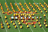 11 October 2008: NCAA Pac-10 USC Trojans 28-0 shut-out win over the Arizona State University Sun Devils during a day college football game at the Los Angeles Memorial Coliseum in Southern California. Overview of the Trojans marching band on the field a view from above.