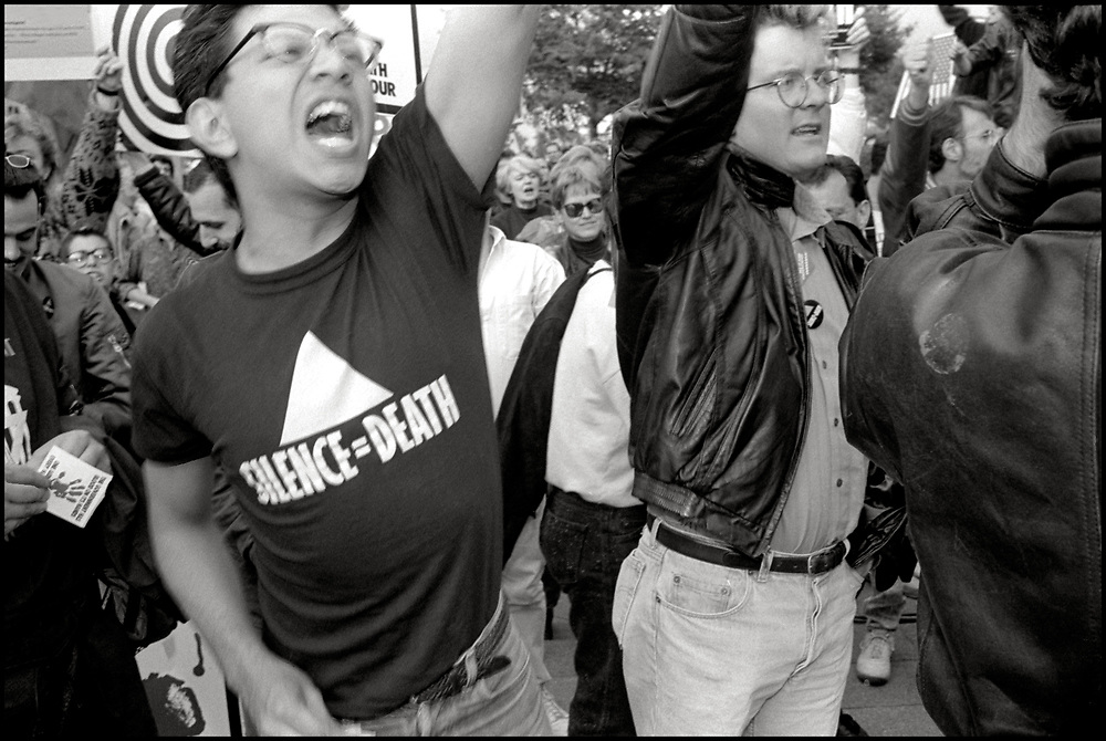 Robert Garcia of ACT UP NY participates in Action at The US Department of Health & Human Services in Washington DC on October 10, 1988.