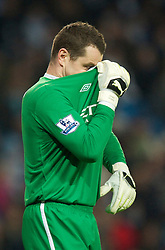 MANCHESTER, ENGLAND - Sunday, February 13, 2010: Manchester City's goalkeeper Shay Given in action against Stoke City during the FA Cup 5th Round match at the City of Manchester Stadium. (Photo by David Rawcliffe/Propaganda)  MANCHESTER, ENGLAND - Sunday, February 13, 2010: Manchester City xxxx and Stoke City's xxxx during the FA Cup 5th Round match at the City of Manchester Stadium. (Photo by David Rawcliffe/Propaganda)