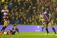Geoffrey Doumayrou skips tackle to score try in the European Rugby Challenge Cup match between Gloucester Rugby and Stade Francais at BT Murrayfield, Edinburgh, Scotland on 12 May 2017. Photo by Kevin Murray.