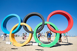 31.07.2016, Copacabana, Rio de Janeiro, BRA, Rio 2016, Olympische Sommerspiele, Vorberichte, im Bild die olympischen Ringe // Olympic rings during preparation for the Rio 2016 Olympic Summer Games at the copacabana in Rio de Janeiro, Brazil on 2016/07/31. EXPA Pictures © 2016, PhotoCredit: EXPA/ Johann Groder