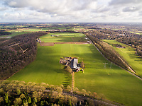 Aerial view of farm surrounded by agriculture field, Diepenveen, Netherlands.