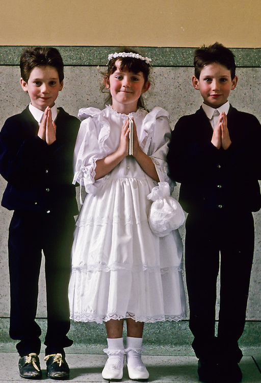 A group of children on their first Communion.