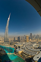 View from the Address Hotel of the area surrounding the Burj Khalifa, the tallest building in the world in downtown Dubai (Dubai Mall on right), Dubai, United Arab Emirates (Dubai Mall on right), Dubai, United Arab Emirates