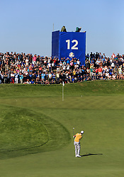 Team Europe's Thorbjorn Olesen on the 12th green during preview day four of the Ryder Cup at Le Golf National, Saint-Quentin-en-Yvelines, Paris.