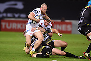 James Short of Exeter chiefs © is stopped just short of the try line. European Rugby Champions Cup match, Ospreys v Exeter Chiefs at the Liberty Stadium in Swansea, South Wales on Sunday 15th November 2015. pic by Andrew Orchard, Andrew Orchard sports photography.