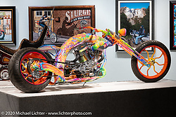 Rick Fairless Bettie, a Psychedelic Eclectic custom with a 121 ci TP engine in Rick's own Curved Rigid frame, in the Heavy Mettle - Motorcycles and Art with Moxie exhibition at the Sturgis Buffalo Chip. This is the 2020 iteration of the annual Motorcycles as Art series curated and produced by Michael Lichter. Sturgis, SD, USA. Friday, August 7, 2020. Photography ©2020 Michael Lichter.