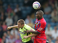 Photo: Lee Earle.<br /> Crystal Palace v Sheffield United. Coca Cola Championship. 22/09/2007. United's James Beattie (L) battles with Leon Cort.