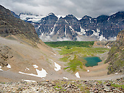 The view from on top of Sentinel Pass, looking south down Larch Valley; Banff National Park, Alberta, Canada