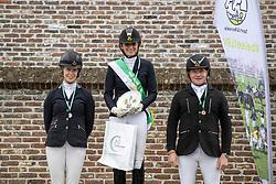 Podium 5 jaar, Swennen Celine, Bax Marijke, Kreutziger Christoph<br /> Nationaal Kampioenschap LRV <br /> Paarden Dressuur - Oudenaarde 2020<br /> © Hippo Foto - Dirk Caremans<br /> 04/10/2020
