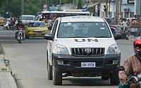 Traffic on a busy street in Dili, Timor-Leste (East Timor).