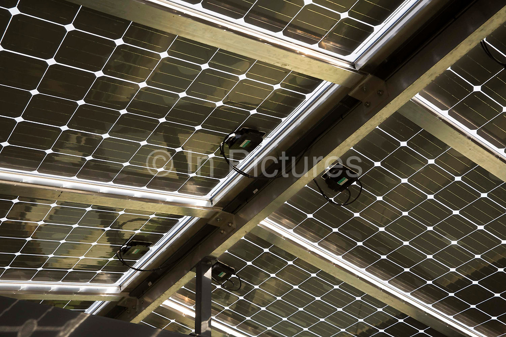 The roof underside of 7.75 kWp solar photovoltaic array panels in Osney Lock Hydro on the River Thames, in Oxford, England, United Kingdom.  It is the first community owned hydropower scheme to be built on the River Thames, set up by local residents in 2002, it generates clean, green electricity. The solar panels generate 6,665 kWh of green energy annually.  photo by Andrew Aitchison / In pictures via Getty Images